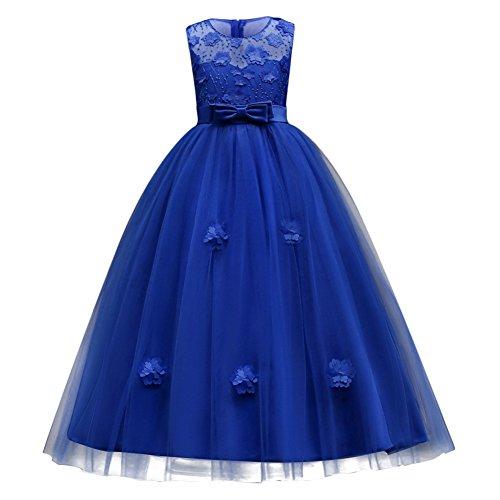 IBTOM CASTLE Vestito Principessa per Ragazza Elegante Floreale Fiore Pizzo Abiti da Sera Matrimonio Damigella d'Onore Tulle Blu Reale 14-15 Anni