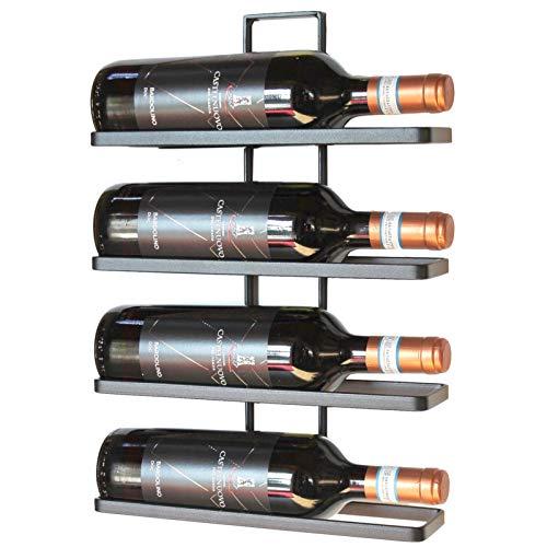 DanDiBo Weinregal Metall Schwarz Wandmontage 4-Wine beliebig erweiterbar Flaschenständer Flaschenregal Flaschenhalter Wand (4 Flaschen / 1.STK)
