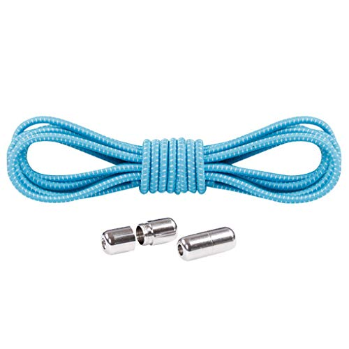 Skxinn Schnürsenkel,1 Paar No Tie Lazy Shoelaces Bandage Metal Connect Flexible,Rund Elastische Flexible Schnürsenkel Das Flache, für Sportschuhe, Sneakers und Stiefel Sonderverkauf(Hellblau,FALSE)