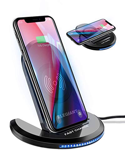 ELEGIANT Wireless Charger Induktions Ladegerät Qi Charger Drahtlose Faltbare Schnellladegerät für Samsung Galaxy S20+ S8 S7 Edge/10/9/8, iPhone 12/SE /11 Pro/8 Plus und alle Qi Fähige Geräte