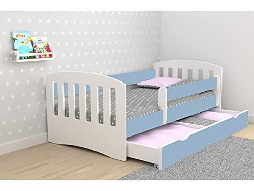 Children's Beds Home - Cama individual Classic 1 - Para niños niños pequeños - Tamaño 140x80, Color Azul, Cajón Sí, Colchón 12 cm de espuma de alta resistencia