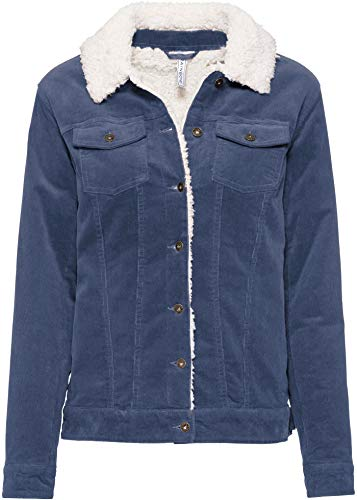bonprix Coole Feincord-Jacke mit Teddyfell-Kragen Indigo/weiß 46 für Damen