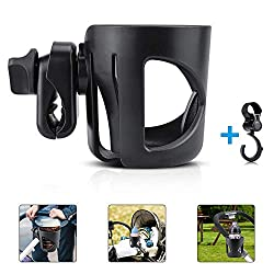 【Adjustable size】The stroller cup holder is suitable for all kinds of baby bottle,drinks bottles and coffee cup, and is equipped with a baby carriage hook to allow you to release your hands when shopping or traveling, so that you can easily carry you...