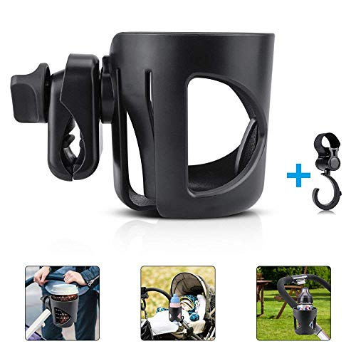 Stroller Cup Holder,Topist Pushchair/Pram Cup Holder , Universal Baby Bottle Organizer for Stroller , Drink and Coffee Cup Holder with a Hook Suitable for Baby Buggy and Bike
