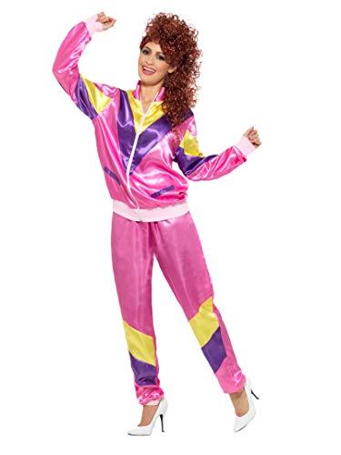 80er Hochmodischer Jogginganzug Kostüm Rosa mit Jacke und Hose                  , Large