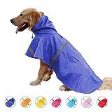 Dobeans 犬のレインコート犬用 レインコートレインポンチョ 犬用 ポンチョ タイプ 雨具 調整可能 止レーンコートは安全反射ストリップを含み 折りたためる 防水 防雪 防風 着脱簡単 ペット服 雨の日 お散歩 カッパ 梅雨対策 小型犬/中型犬/大型犬 (ブルー,L)