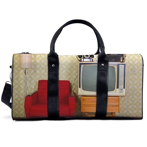 Bolsa de viaje vintage para TV y sofá, bolsa de viaje, yoga, camping, gimnasio, hombro, bolsa de lona ligera para hombres y mujeres