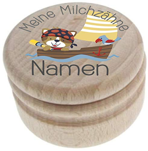 Milchzahndose aus Holz – Meine Milchzähne – Zahndose mit Namen personalisiert – Die Zahnbox hat einen Deckel mit Schraubverschluss - perfekt als kleines Geschenk · Zahnfee - für Jungen & Mädchen - 23