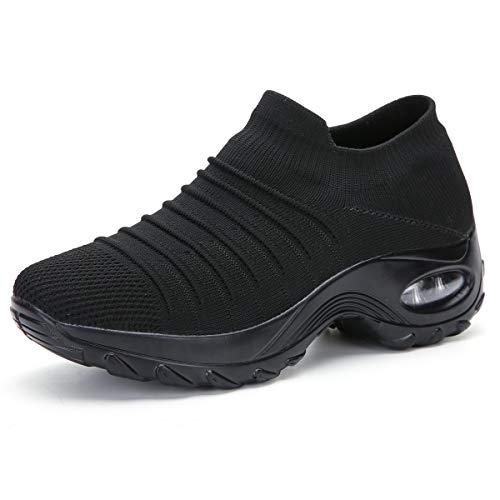 Gainsera Turnschuhe Damen Sportschuhe Laufschuhe Bequeme Air Wedge Schuhe Mesh Socken Slip On Outdoor Wanderschuhe,2089 Black 39