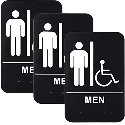 """Plastic Restroom Sign: Easy to Mount with Braille (ADA Compliant), Great for Business - 6""""x9"""", Men's Handicap - Pack of 3"""