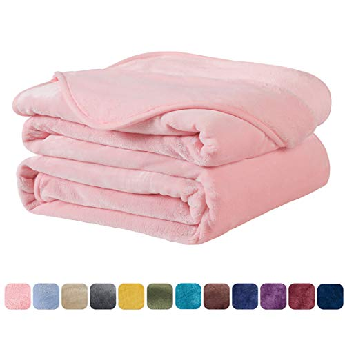 EASELAND Soft King Size Blanket Warm Fuzzy Microplush Lightweight Thermal Fleece Blankets for Couch Bed Sofa 90x108 Inch,Light Pink