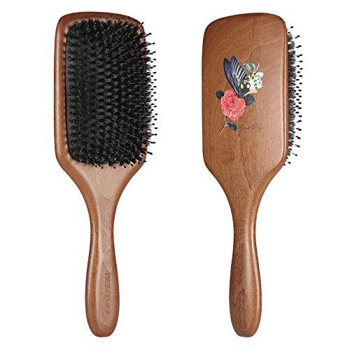 BESTOOL Haarbürste, Wildschweinborsten Bürste mit Nylonstiften für Damen Herren Kinder, Paddle Detangler Bürste zur Massieren, Entwirren, Glätten, geeignet für alle Haartypen (Paddel)
