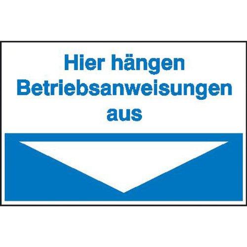 Maschinenbetriebsanweisungen - Hinweisschild Hier hängen Betriebsanweisungen aus (blau) Größe (BxH): 30,0 x 20,0 cm 1,0 mm Kunststoff (Hart-PVC)