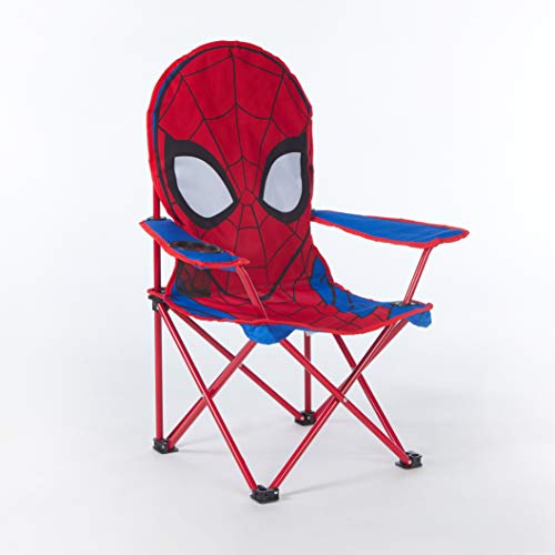 Idea Nuova Marvel Spiderman Figural Camp Chair for Kids, Indoor/Outdoor Use, Ages 3+