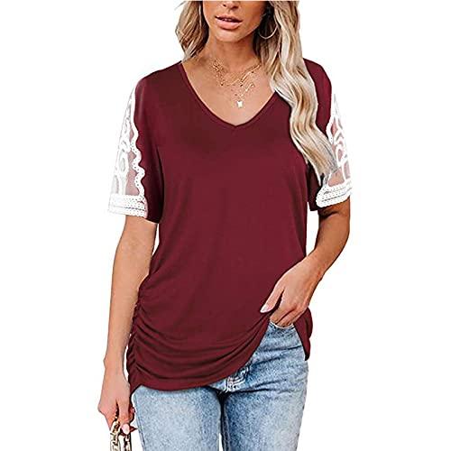 SLYZ 2021 Camiseta De Mujer De Verano con Cuello En V Y Costura De Encaje De Manga Corta con Plisado Lateral Superior para Mujer