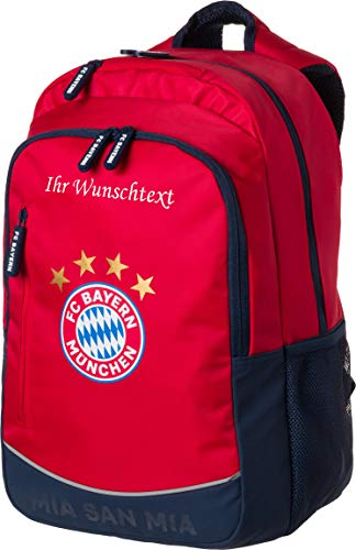 FC Bayern Rucksack rot mit Ihrem persönlichen Wunschtext in Wunschfarbe
