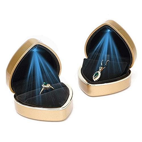 CNZXCO 2pcs Caja De Anillo De Boda, Collar, Anillos De Compromiso, Caja De Anillos De Boda, Luz LED En Forma De Corazón, Caja De Joyería (Color : Gold)