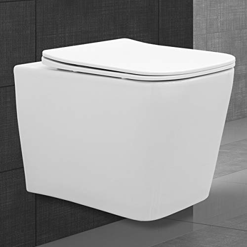 ECD Germany WC Sospeso Senza Bordo Quadrato in Ceramica Coprivaso Soft-Close Sedile del Water Rimovibile Bianco Sedile Toilette Sospeso a Muro Vaso a Parete Copriwater Chiusura Rallentata