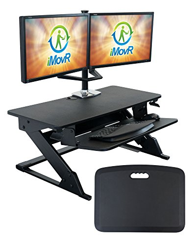iMovR ZipLift+ Standing Desk Converter with Ergonomic Tilting Keyboard Tray