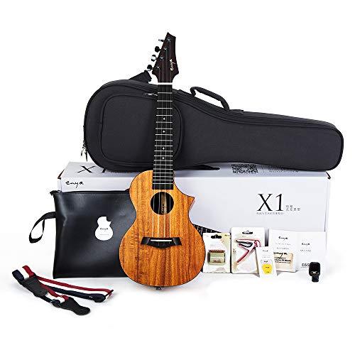 Enya EUC-X1C Cutaway Concert Ukulele HPL 23 inch Bundle with String, Tuner, Strap,Fingershaker,Gig bag,Capo,Picks,Polishing cloth (Concert)