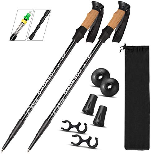 COENGWO Trekking Poles Collapsible Hiking Poles, Aluminum 7075 Walking Poles Sticks with Adjustable Lock for Mountaineering, Camping, Backpacking, 2 Poles