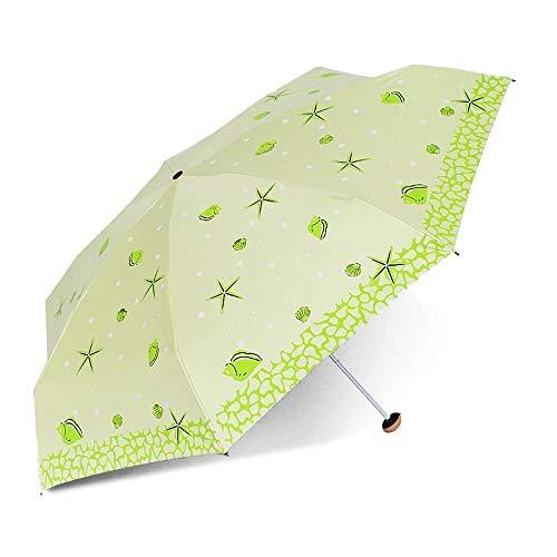 Parapluies Ultra-léger (205g) Parapluie Pliant Taux de Coupe UV pour Femmes 99% à la Fois ensoleillé et pluvieux Durable (Color : Vert Jaune, Size : Libre)