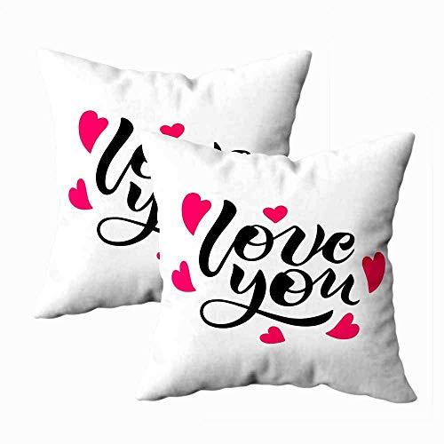 N\A Reißverschluss Kissenbezüge, Spaß Kissenbezüge Standardgröße Liebe Sie lieben Kalligraphie Valentinstag Hochzeitskarte Home Schlafzimmer Sofa Dekor 2er-Set