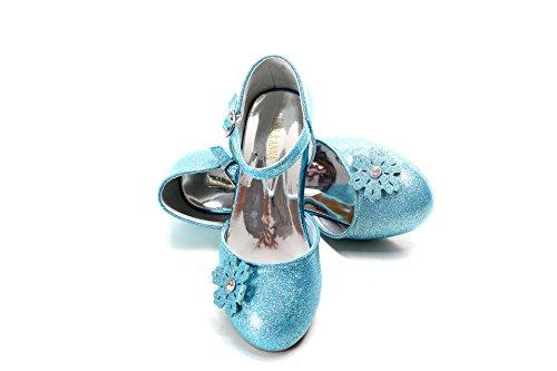 ELSA & ANNA® Última Diseño Niñas Princesa Reina de Nieve Jalea Partido Zapatos Zapatos de Fiesta Sandalias (Blue, Euro 27-Longitud:18.0cm)
