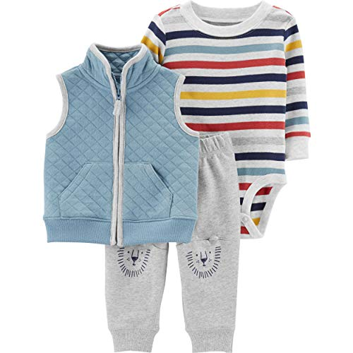 Carter's Baby Boys' Lion Knees 3-Piece Layette Set - Heather Gray/Multi,