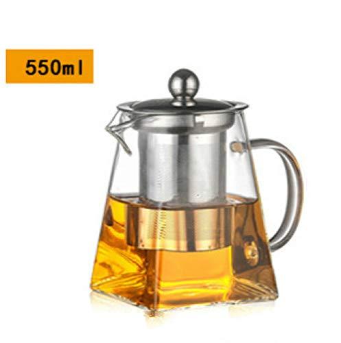 550 ml hittebestendige glazen theepot met roestvrij stalen infuser, heated theepot, goed doorzichtig, vierkant filter sneakers