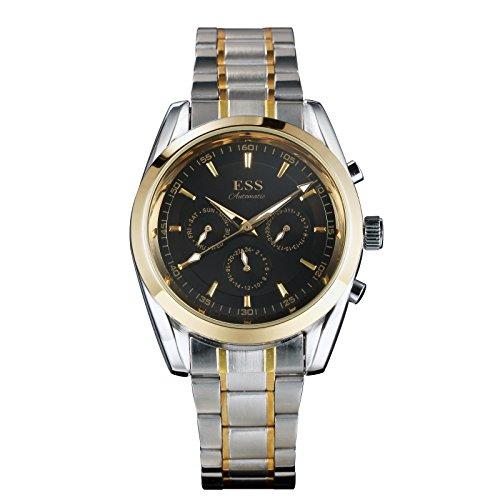 ESS Herren Automatik Mechanische Uhr schwarz Zifferblatt Klassisch Golden Edelstahl