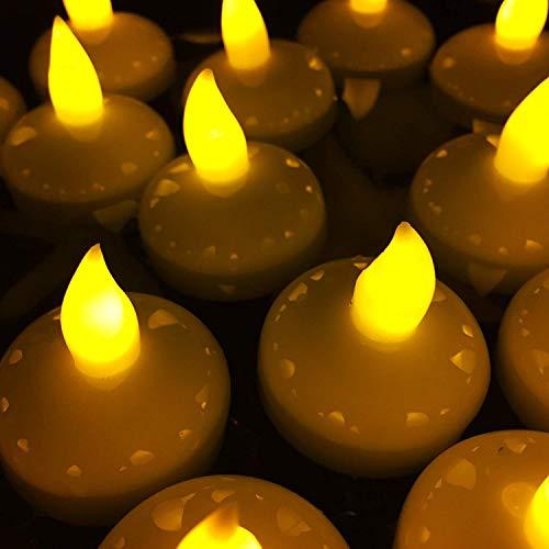 ANZOME Satz von 24 Schwimmkerzen Gelb Schwimmteelicht Batteriebetriebene Teelichter Kerzendekoration für Hochzeit Geburtstag Valentinstag Thanksgiving