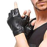 Nappaglo Herren Fingerlose Lederhandschuhe Lammfell Weiches Seidenfutter Halbfinger für fahren Radfahren Outdoor Handschuhe (M (Umfang der Handfläche:20.3-21.6cm), Schwarz)