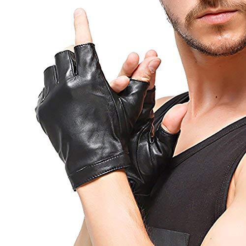 Nappaglo Herren Fingerlose Lederhandschuhe Lammfell Weiches Seidenfutter Halbfinger für fahren Radfahren Outdoor Handschuhe (L (Umfang der Handfläche:21.6-22.8cm), Schwarz)