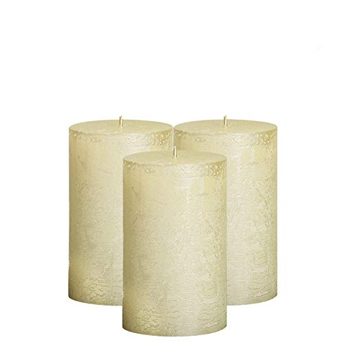 BOLSIUS Unscented Pillar Candles - Rustic Full Metallic Ivory Candle 2.75' X 5' - Decorative Candles Set of 3 - Clean Burning Candles for Wedding & Home Decor Party Restaurant Spa- Aprox (130/68m)