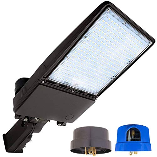 GENPAR 200W Shoebox LED Parking Lot Light 700W Equivalent 5700K 30000lm lumens Slip Fitter Mount Outdoor Lighting Super Bright Dusk to Dawn Photocell Pole Flood Street Lights Road Area Stadium Court