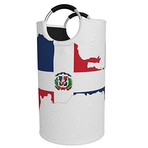 Canasta de lavandería redonda, República Dominicana Mapa Bandera Canasta de lavandería Cubeta Bolsa de ropa plegable Contenedores de 82 L para oficina Organizador de juguetes Clasificador de contenedo