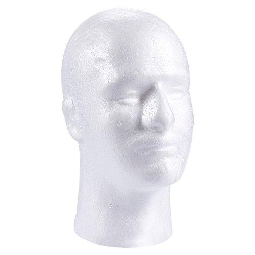 Male Mannequin Head, Foam Wig Stand (White, 9 x 7 x 11 In)