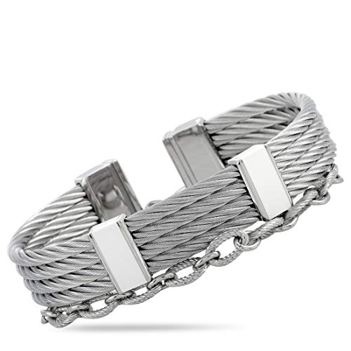 CHARRIOL St-Tropez Stainless Steel and White Lacquer Bangle Bracelet