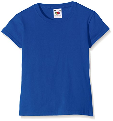 Fruit of the Loom Mädchen Valueweight T-Shirt, Blau (Royal Blue 51), Gr. 7-8 Jahre (128 cm)