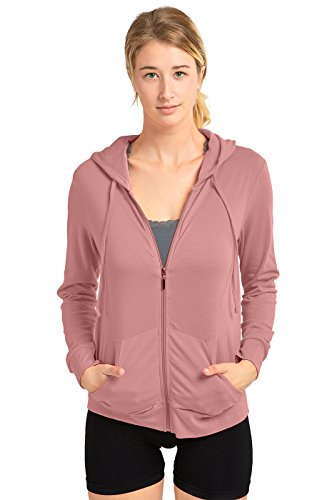 Sofra Women's Thin Cotton Zip Up Hoodie Jacket, Mauve Rose, X-Large