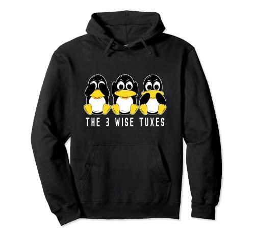 3 Linux pingüinos escuchan no hablan ningún informático Win Sudadera con Capucha