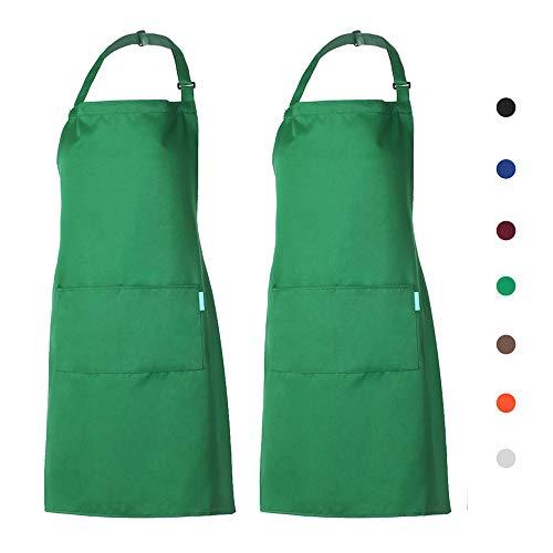 esonmus Schürze Kochschürze Küchenschürze 2er Gärtnerschürze mit 2 Taschen für Frauen Männer Chef verstellbarem Nackenband Grün