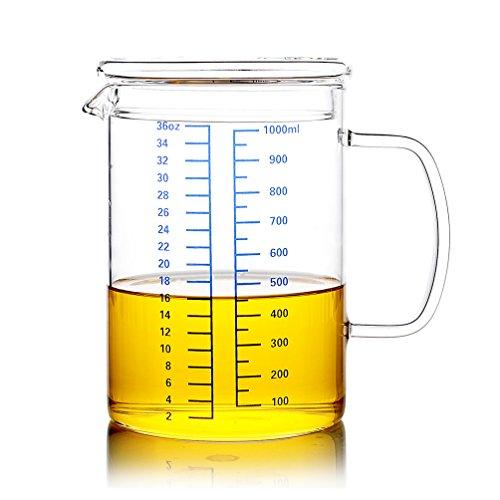 Advogue Pyrex Jarra graduada con una tapa,Kitchen Lab Vaso Medidor Transparente(0.5L,1L) (1L)