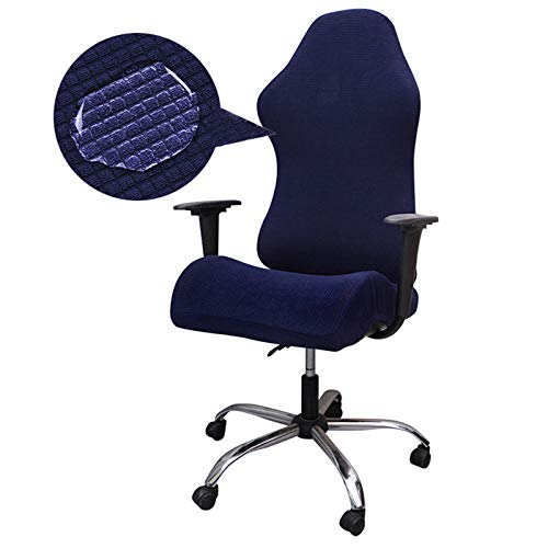 ZCFXGHH Stretchable Gaming Chair Covers, Washable Office Elastic Spandex Armchair Seat Protector Cover for Office Chair, Swivel Chair, Computer Chair (Only Chair Covers), Dark Blue