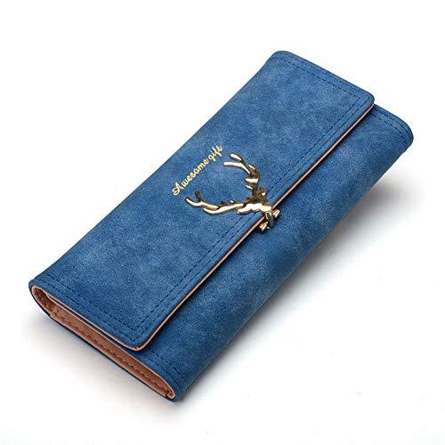 Mode Brieftasche Frauen Damen Brieftasche Langen Reißverschluss einfarbig Bonbon Farbe Metall Weihnachten Hirsch Brieftasche PU Kartenhalter Design