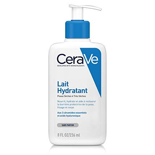 CeraVe Lait Hydratant | 236ml | Crème Hydratante 24h Nourrissante à l'Acide Hyaluronique Corps & Visage pour Peaux Sèches à Très Sèches