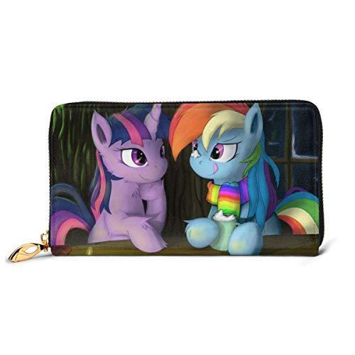 XCNGG My Rainbow Pony Cartera RFID Bloqueo de Cuero Genuino Carteras con Cremallera Monedero Monedero de Viaje Alrededor del Titular de la Tarjeta Organizador Bolsa de Embrague