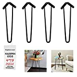 NXN-HOME 19' Heavy Duty Hairpin Coffee Table Legs (Set of 4), 2/5' Thick, Black