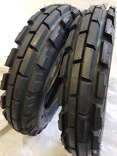 (2 TIRES + 2 TUBES) 6.50-16 8 PLY ROAD CREW KNK33 3-Rib Farm Tractor Tires 6.50x16